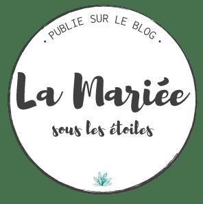 Macaron de publication sur le blog de mariage la mariée sous les étoiles