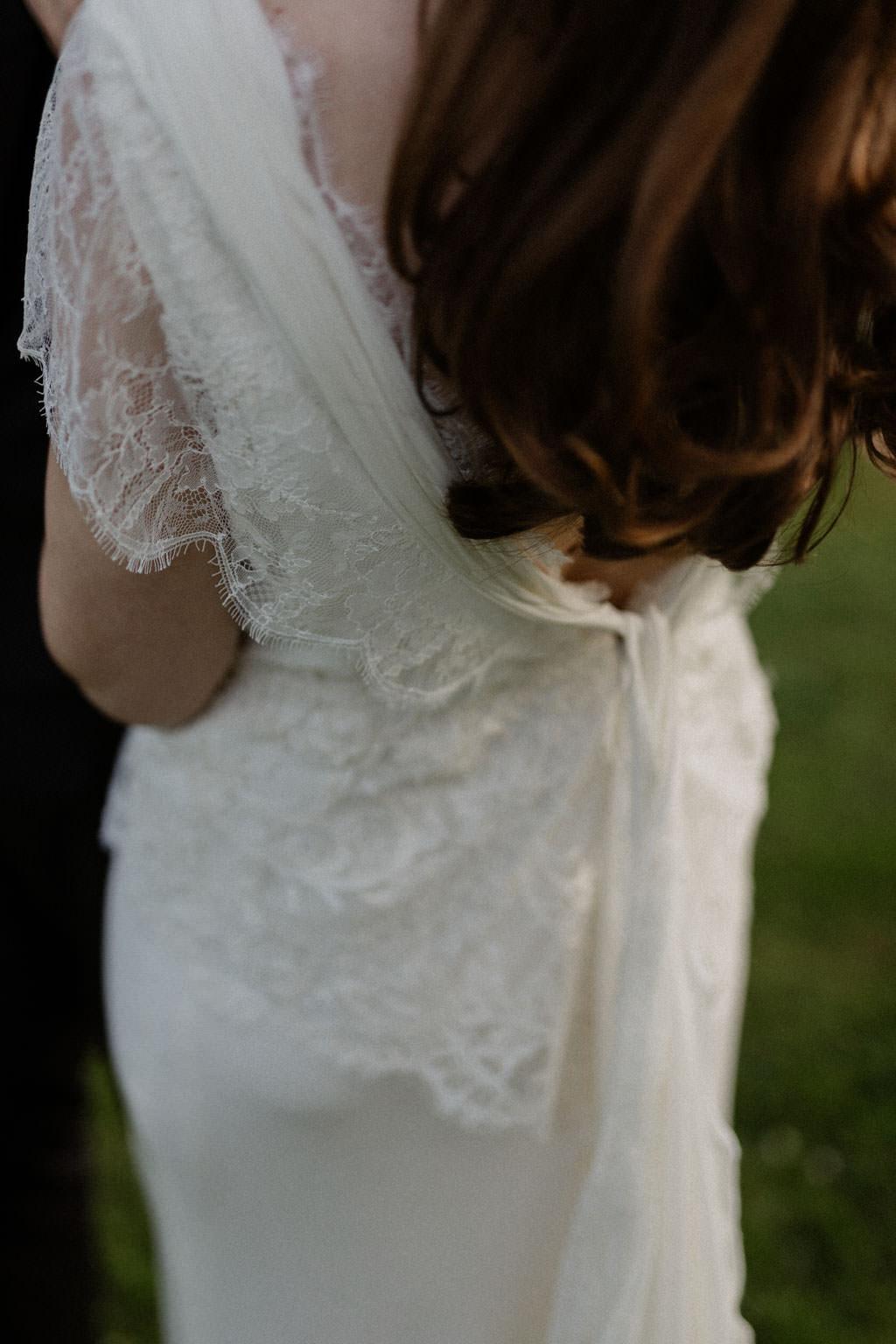 Détail de la robe sur mesure faite par Christian Lacroix