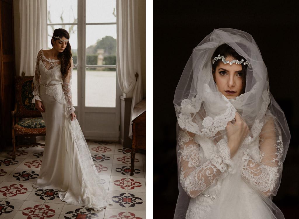 Portraits de la mariée au château d'Alphéran en Provence