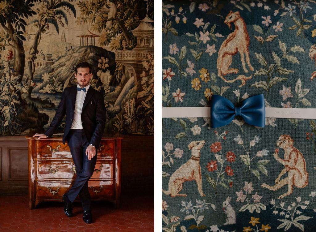 Portrait du marié et du noeud papillon en cuir de chez Atelier Jeannot