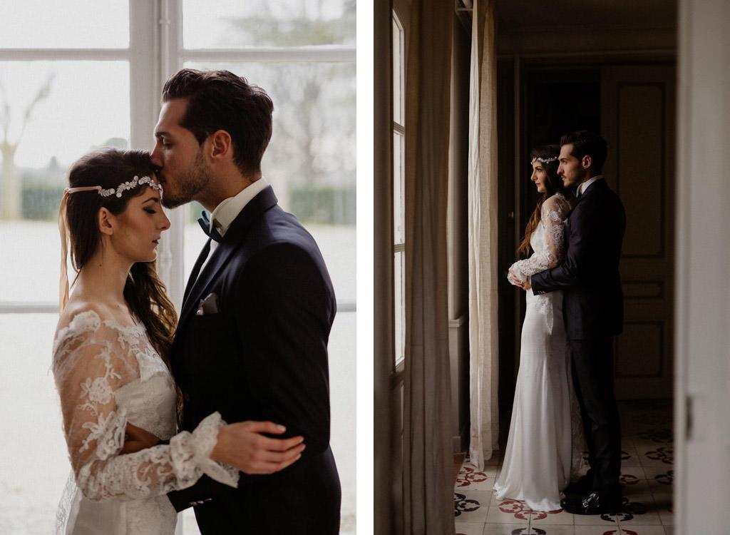 Portrait des mariés pendant leur mariage hiver provence au Château d'Alphéran