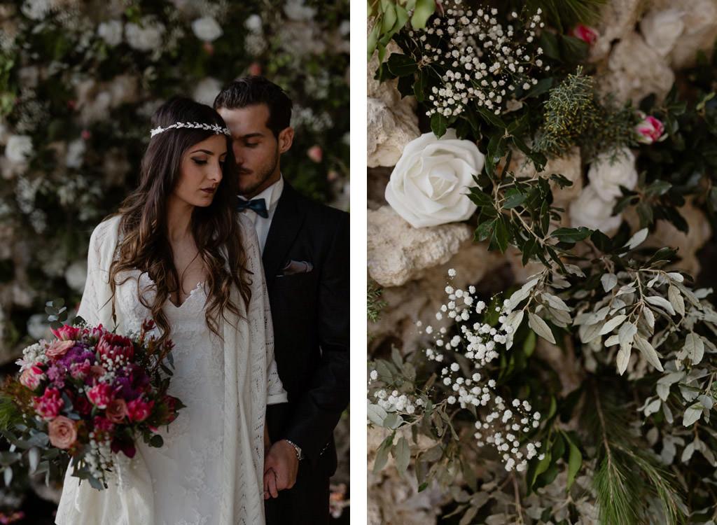 Portrait des mariés devant la fontaine fleurie de l'orangerie du château d'Alphéran