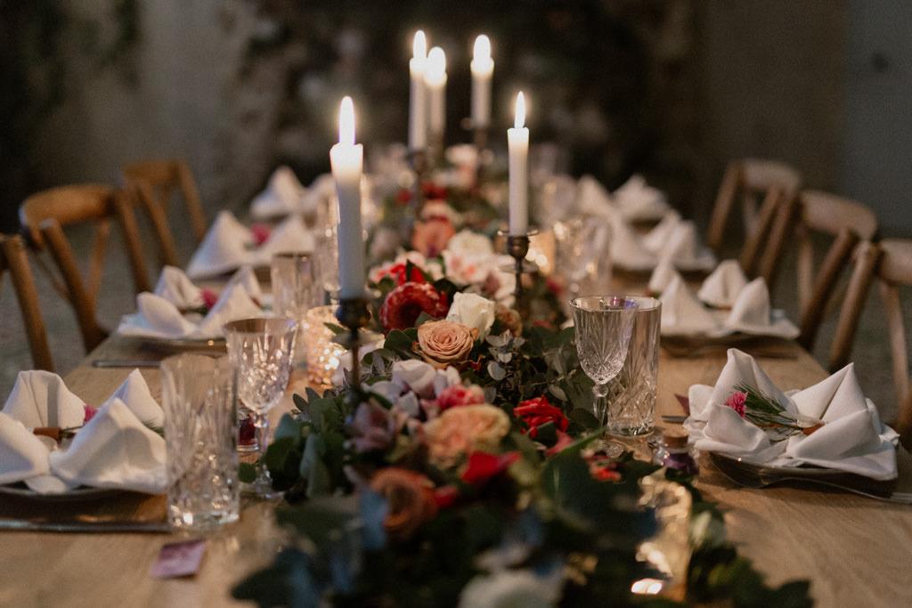 La table de réception du mariage