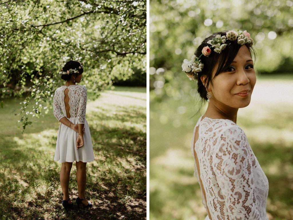 P est une jeune pacsée au look de mariée avec sa couronne de fleurs et sa robe blanche